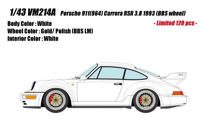 【予約】 ヴィジョン 1/43 ポルシェ 911 964 カレラ RSR 3.8 1993 BBSホイール ホワイト 完成品ミニカー VM214A