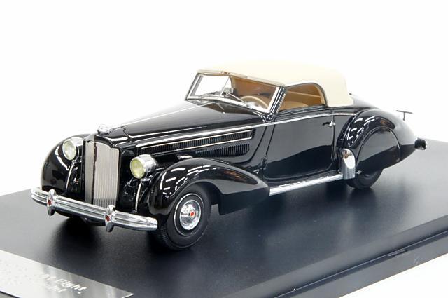 グレートライトニングモデル 1/43 パッカード 1601 エイト 1938 カブリオレ グレーバー ブラック シャーシNo.120 完成品ミニカー GLM43107601