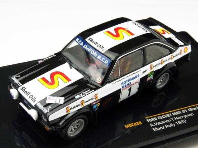 モデルカードットコム/イクソ 1/43 フォード エスコート MKII ブラック ビューティー 1982 マンクスラリー No.1 A.Vatanen/T.Harryman 完成品ミニカー MDC028