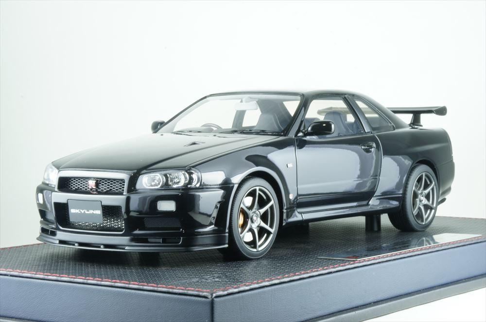イデア 1/18 ニッサン スカイライン GT-R BNR34 V-spec II 2000 ブラックパール 完成品ミニカー IM024D