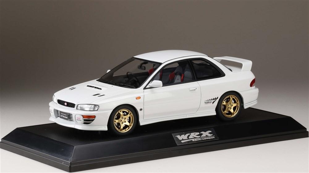 ホビージャパン 1/18 スバル インプレッサ WRX タイプR STiバージョン IV GC8 1997 フェザーホワイト 完成品ミニカー HJ1812EW