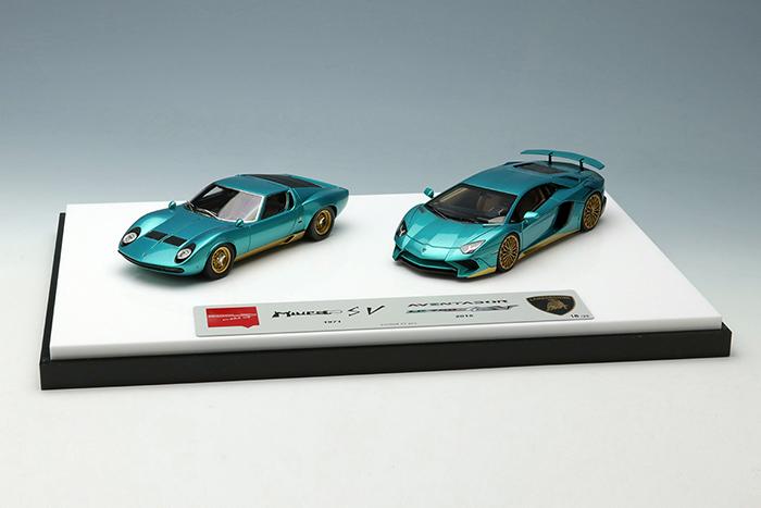 アイドロン コレクション 1/43 ランボルギーニ スーパーベローチェ セット メタリックターコイズグリーン/ゴールド 完成品ミニカー EMCOF012E