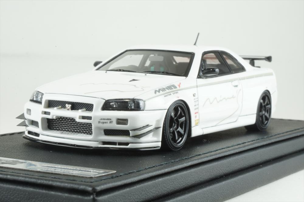 イグニッションモデル 1/43 ニッサン スカイライン GT-R マインズ R34 ホワイト 完成品ミニカー IG1812
