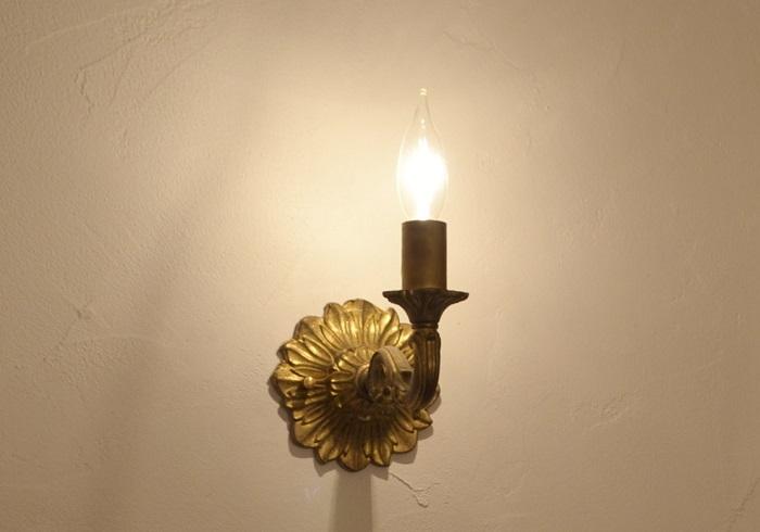 ウォールランプブラケット灯具キャンドルアンティークゴールド LED対応 送料無料 ウォールランプ ブラケット ブラケットライト アンティーク アイアン かわいい ナチュラル フレンチカントリー サンヨウ ポタフルール 照明器具
