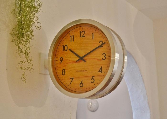 フランクリントンボースサイドクロックWH 送料無料 両面時計 掛け時計 ボースサイドクロック ウォールクロック おしゃれ かわいい ナチュラル カフェ風 インダストリアル 男前 ホワイト 白 インターフォルム ロベストン ポタフルール