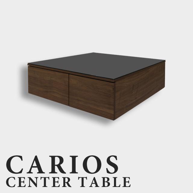センターテーブル リビングテーブル ローテーブル ウォールナット 幅90cm 北欧 おしゃれ かわいい アンティーク 引き出し 収納付き 木製 ブラックガラス ガラス天板 おしゃれ 正方形 テーブル 収納テーブル CARIOSリビングテーブル