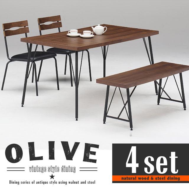 ダイニングテーブルセット ダイニングテーブル 4点セット 4人掛け ベンチ 幅135cm アンティーク 北欧 ウォールナット 木製 スチール おしゃれ オリーブ135ダイニング4点セット【送料無料】