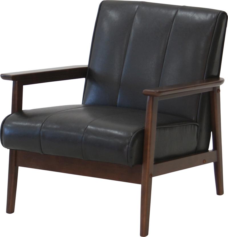 送料無料 ソファ ソファー sofa 1人用 スツール ブラック ブラウン 木製 レトロ ミッドセンチュリー 通販 専用 家具 ラバーズ1Pソファ バーゲン