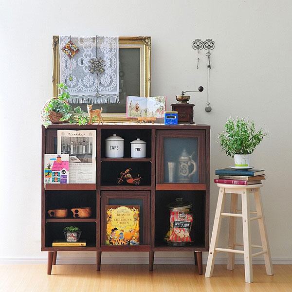 【レトロ調の可愛い収納BOX】本棚としてはもちろんシェルフと合わせて使うと食器棚にもなります!ディスプレイラック コンパクト 省スペース 組み合わせ 収納家具 木製 組立 プレモキャビネット PU100-110F 【送料無料】