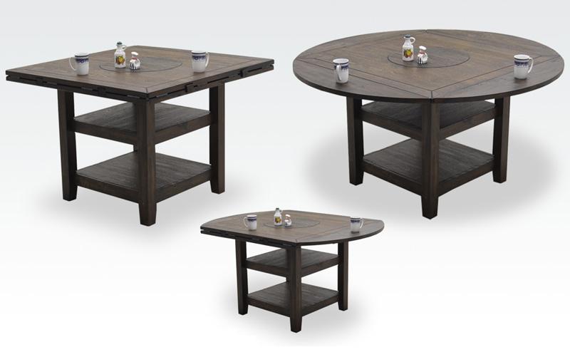 6パターン変身するダイニングテーブル 【テーブルが円卓から正方形に変身!?】ダイニングテーブル 流木風に仕上げたカッコイイダイニングテーブル ハイタイプ ロータイプ 高さ調節でき形も変えれる!アマゾンマルチテーブル 送料無料
