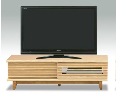人気の格子デザイン 引き戸タイプ タモ突き板の高級感あふれるテレビボード 完成品 ロータイプ AVボード ループ120TVボード(NA) 【送料無料】