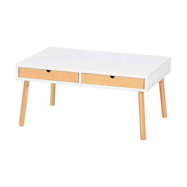 センターテーブル リビングテーブル 引き出し ホワイト ナチュラル 木製 引き出し付きセンターテーブル EM-750(WH) 【送料無料】