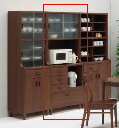 レトロな雰囲気のキッチンボード レンジ台 80 スライド式のガラス扉 スリム食器棚 脚付き キッチン収納 ブラウン家具 パンジー80レンジボード 新生活
