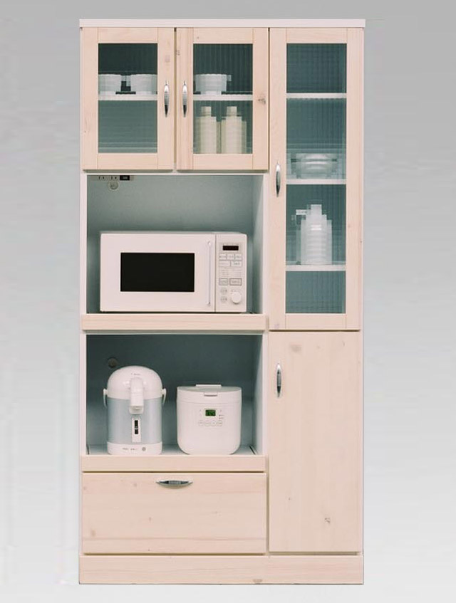 カントリー 食器棚 キッチン収納 キッチンキャビネット キッチンボード 棚 引出 木製 ガラス モダン ナチュラル シンプル 90幅 W90 ワイド 大型 人気 台所収納 モダンバニラ90収納 (ホワイト)