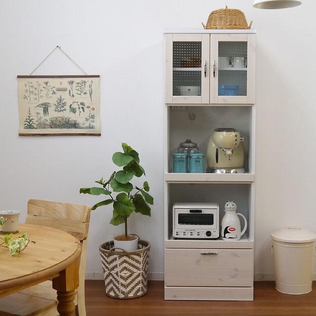 【設置しやすいスリムサイズ】食器棚 キッチンボード スリム 幅60 完成品 アンティーク 北欧 おしゃれ かわいい 木製 キッチン収納 レンジ台 レンジボード ガラス おしゃれ バニラ60収納 ホワイト【送料無料】