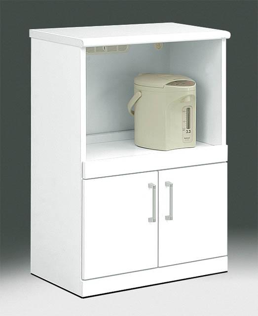 【スーパーセール特価!】 キッチンカウンター 60サイズ レンジカウンター ロータイプ 清潔感あるホワイトカラー ツヤあり鏡面 移動楽々 隠しキャスター付 人気の60キッチンカウンタークリスタル 60キッチンカウンター