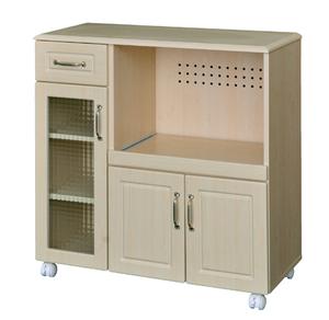 キッチン周りをまとめて整理 キャスター付きのキッチンカウンター 家電収納 レンジ台 スライド棚がついて安心 クロスガラス扉がレトロで可愛い 食器収納 組立品ピュアキッチンカウンターPAS90-90WL