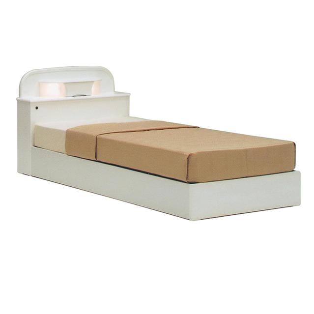 【収納引出付き 照明 宮付】ホワイトフレーム シングルベッド ヘッドボードライト付き 木製ベッド ベッド 一人暮らし ひとり部屋 ひとり用ベッド ベッドフレーム シングルベッドドリームシングルベッド(ホワイト)