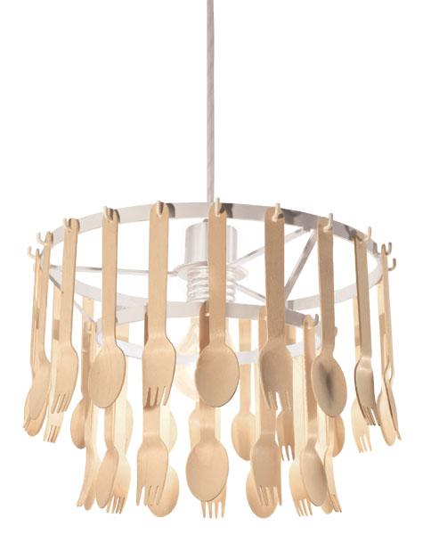 スプーンとフォークがそのまま 照明になった!ユニークで遊び心あふれる照明【送料無料】北欧 おしゃれ かわいい家具でも多く使われている木材を使用 飲食店などオススメです ジータ ペンダントランプ DI CLASSE(ディクラッセ)