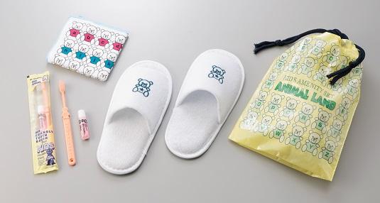 子供用アメニティセットアニマルランド150セット(75セット×2)歯ブラシセット・ハンドタオル・子供用スリッパ・巾着袋