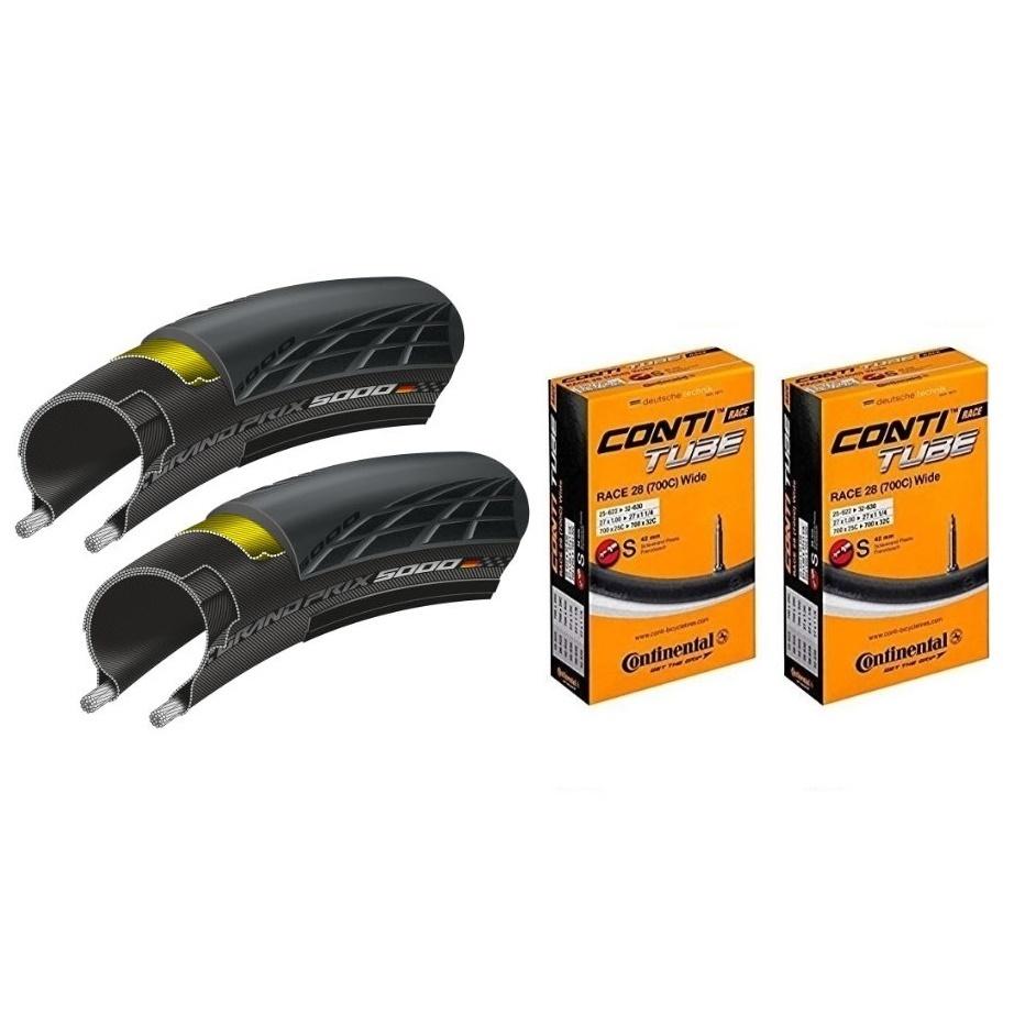 タイヤとチューブ各2本セット Continental コンチネンタル GRAND PRIX 5000 グランプリ5000 700×28C ブラック + Race28 Wide 仏式42mm