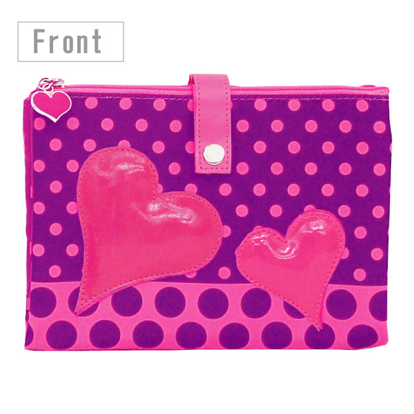 Mother and child Handbook case POUCHE hearts & dots (BN) W pouch / М size