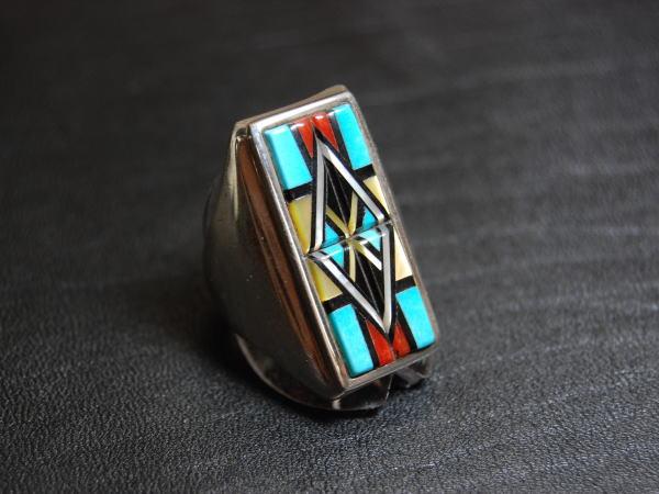 925 リング メンズ 18号 リング インレイ 立体感がカッコイイ ZUNI 手作り シルバーリング 925 指輪 postok