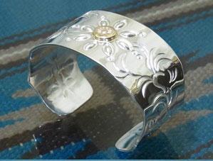 バングル ボタニカル【受注製作】シルバー 925 ハンドメイド レディース メンズ ブレスレット 男女 腕輪 銀細工師 手作り【長さ 約13.5~15cmまで】