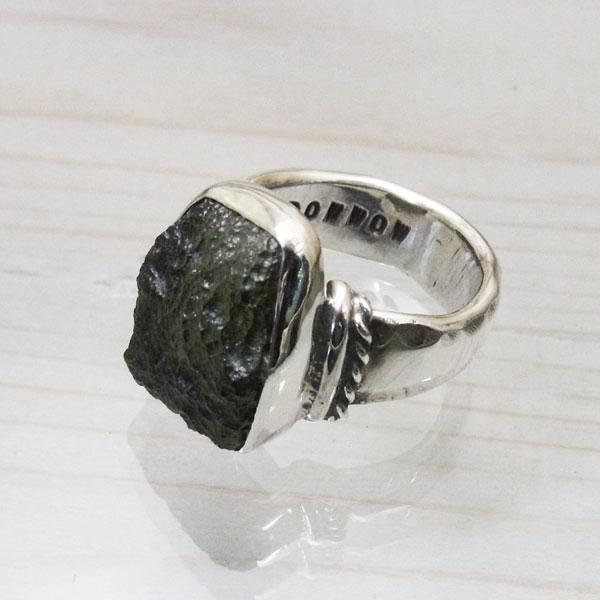 Moldavite ring 925 handmade men 24