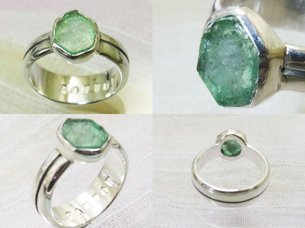No  10 Emerald slices handmade silver rings (rings) ♪ fresh design line and  the upper circle type single arm core! A Pow-Wow RT daikan-Yama of