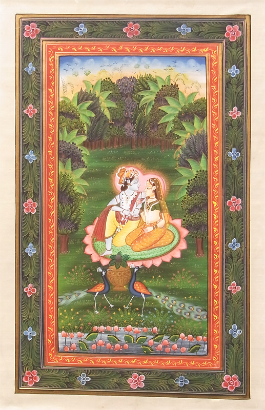 Miniature paintings of India love story of Krishna and Radha 10P23Aug15
