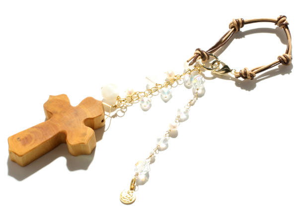 【純粋に愛する人を受け入れる】ムーンストーン・淡水パール・天使のバッグチャーム