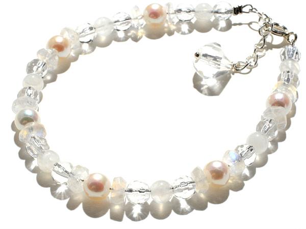【愛することは信じること】真珠・ムーンストーン・クリアクォーツ・ブレスレット【手作り商品】パワーストーン ブレスレット