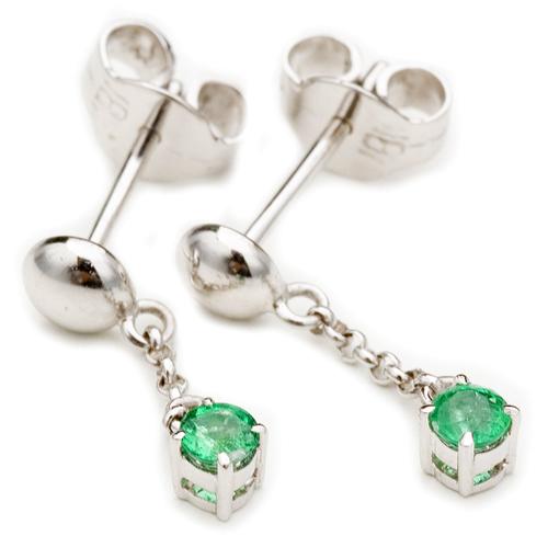 Emerald white gold pierced earrings