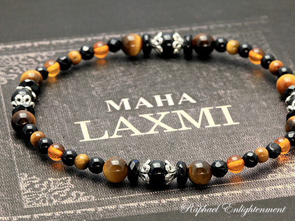 Stone anklet goddess Lakshmi and anklets (high quality 8 x Onyx x Amber) P25Apr15