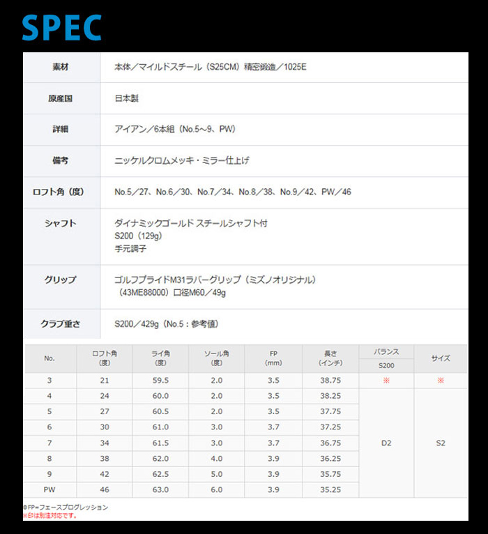 Mizuno-美津浓-MP-5铁杆6部组(#5~9,PW)