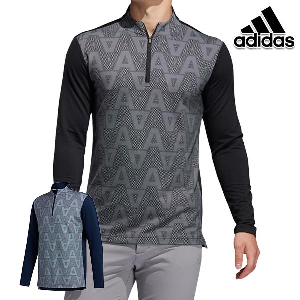 30%OFF アディダスゴルフ 秋冬モデル INS72 百貨店 メンズ ジオメトリックパターン長袖ジップモックシャツ 20 ネイビー golf adidas 全品最安値に挑戦 FS6901
