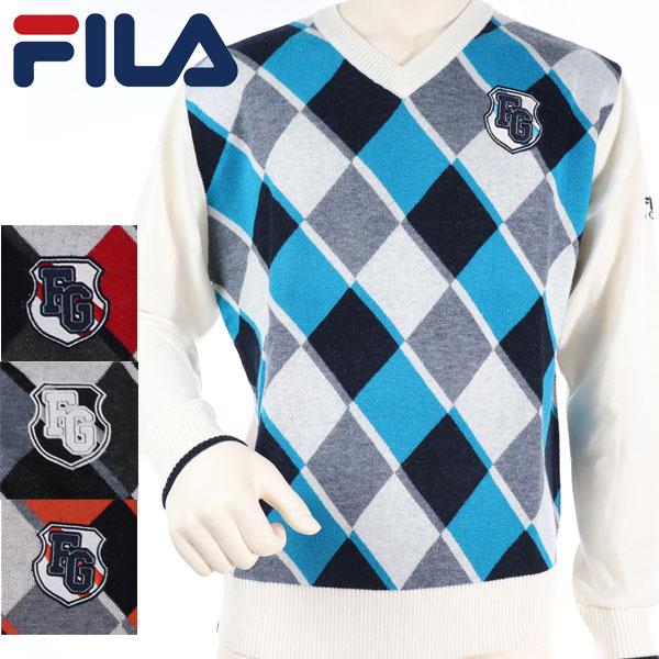 ニット セーター 直送商品 ゴルフウェア フィラ 40%OFF フィラゴルフ 秋冬モデル メンズ GOLF FILA 789-700 19 アーガイルセーター 高品質