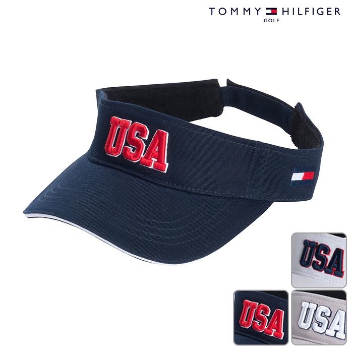 TOMMY HILFIGER 最新号掲載アイテム トミーヒルフィガー バイザー UNISEX ユニセックス 春夏 18 あす楽 ゴルフ用品 USAバイザー 贈答 THMB804F春夏モデル 帽子