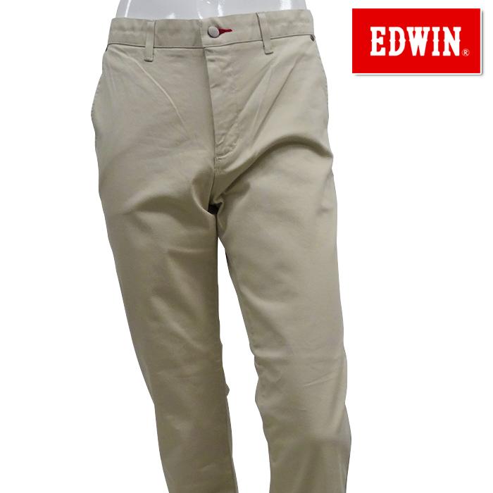 【40%OFF】EDWIN-エドウィン- (メンズ) ノータック タイトシューカット チノベージュ ロングパンツ【K80512-16】【春夏モデル】【18】【ボトムス】【ウエア】S,M,L,XLサイズ