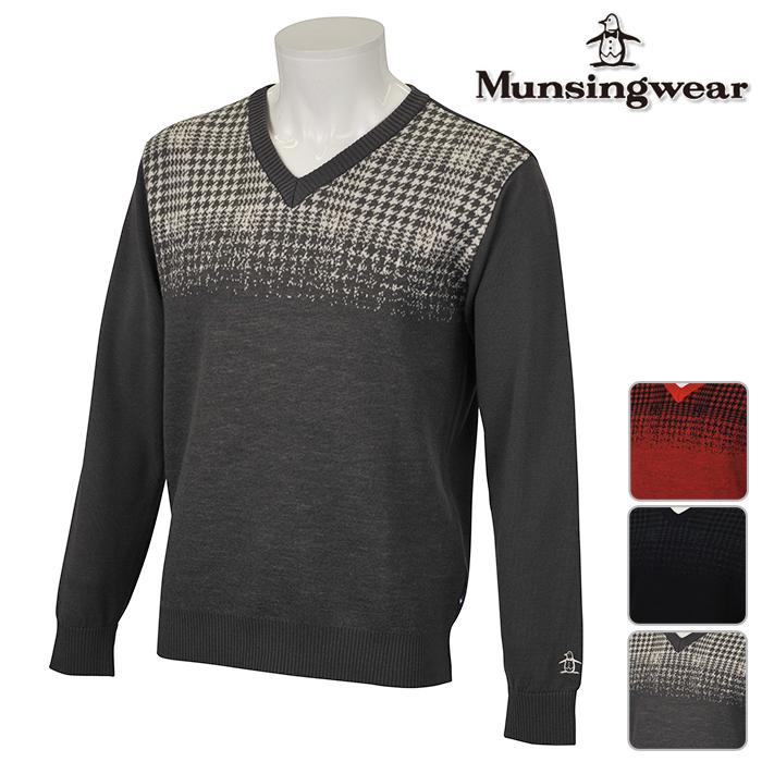 ◆Munsingwear マンシングウエア ニット セーター MENS メンズ 秋冬 JWMK410 秋冬モデル 【17】ゴルフウェア トップス M L LL 3L サイズ ゴルフ用品