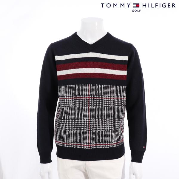 【30%OFF】TOMMY HILFIGERトミーヒルフィガー メンズ セーター thma8a5秋冬モデル ピース グレンチェック Vネックニット セーター【18】トップス M L LL XL ゴルフ
