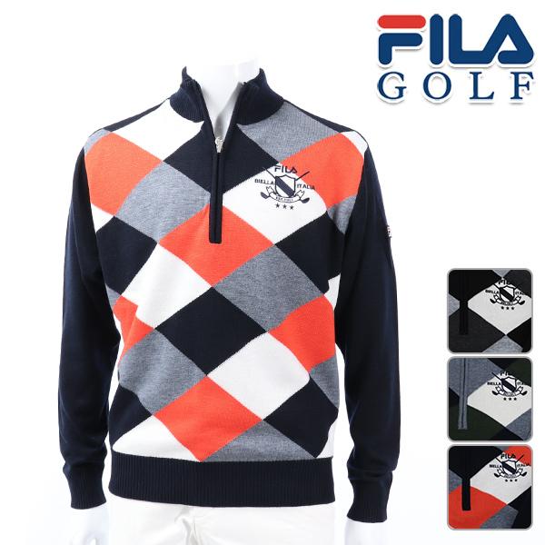 FILA GOLF フィラゴルフ メンズ 長袖 シャツ 秋冬 788-710秋冬モデル ニット ハイネック セーター【18】トップス M L LL 3L サイズ ゴルフ用品