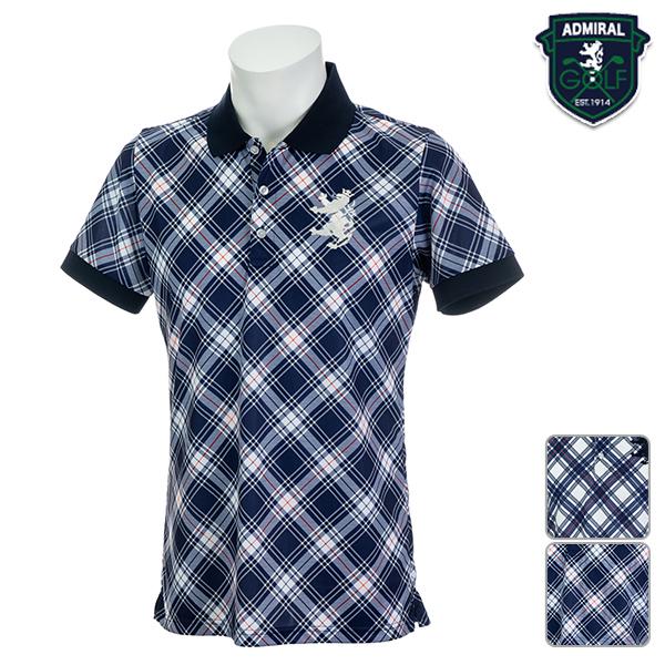 【SALE】アドミラルゴルフ メンズ 2019年春夏モデル ポロシャツ ビッグチェック柄 Admiral GOLF 【19】M L LL ゴルフ adma922
