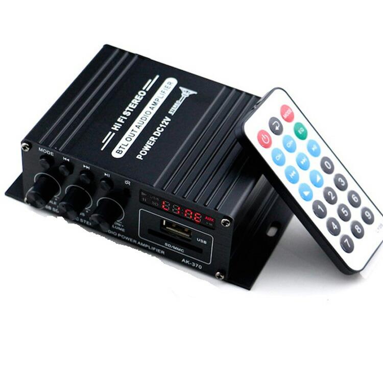 Bluetooth対応 2chオーディオアンプ 出力20W 20W USB SDカード アルミボディ コンパクト 2Aアダプター 送料無料 Hi-Fiステレオアンプ JL-LPAK370 多機能 リモコン付 モデル着用&注目アイテム 送料0円 パワーアンプ