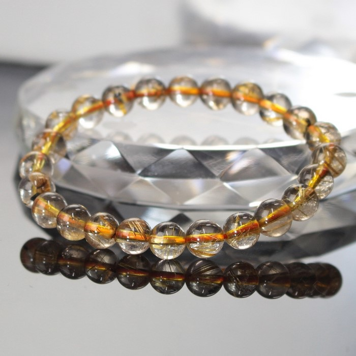 Rutile quartz bracelet | Rutile gold rutilated quartz rutilated quartz  rutile quartz men gap Dis power stone nature stone foreign countries direct