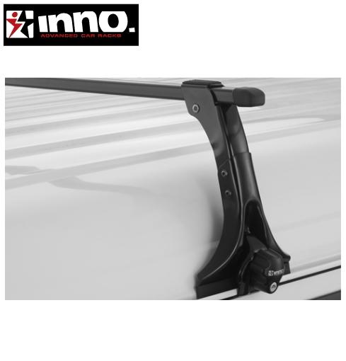 CARMATE inno (カーメイト イノー) トヨタ ハイエース 型式:H2##系 年式:H17.1~ ワイド幅/スーパーロング ハイルーフ フット:IN-MDK+バー:B147(ブラック) スクエアベース 1台分セット