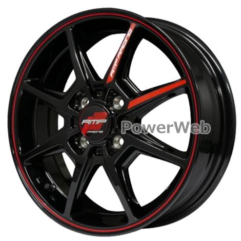 MID RMP RACING R25 (RMPレーシング R25) 16インチ 6.0J PCD:100 穴数:4 inset:43 ブラック/リムレッドライン [ホイール1本]