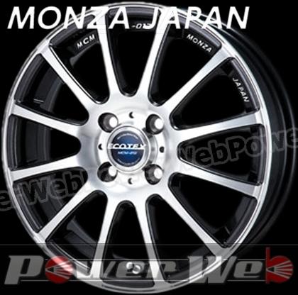MONZA JAPAN ECOTEX MCM012 (エコテック MCM-012) ブラックメタリックポリッシュ 15インチ 4.5J PCD:100 穴数:4 inset:43 [ホイール単品4本セット]