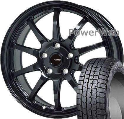 WINTER MAXX 02 215/45R17 87Q DUNLOP ?G.speed G04 HOT STUFF メタリックブラック 17×7.0 114/5H +48 スタッドレス&ホイールセット